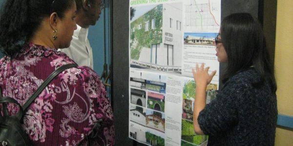 Kaili Liu presents her idea to green the facades of strip malls. (Photo/Liz Falletta)